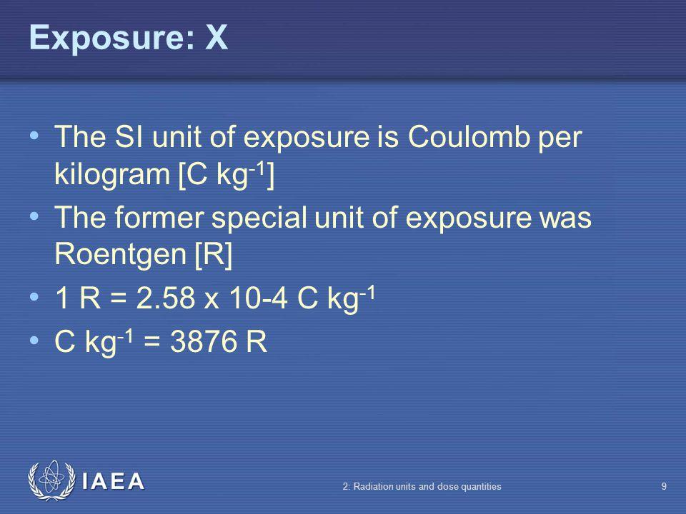 Exposure: X The SI unit of exposure is Coulomb per kilogram [C kg-1]